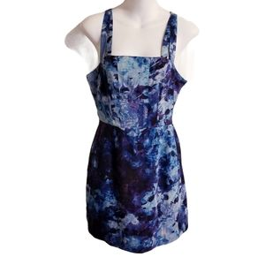 Silence & Noise Blue Abstract Cut Out Dress